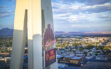 Stratosphere Tower at dusk, The Strip, Las Vegas Boulevard, Las Vegas, Nevada, United States of America, North America