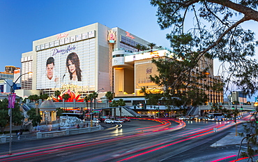 Flamingo Casino and traffic, The Strip, Las Vegas Boulevard, Las Vegas, Nevada, United States of America, North America