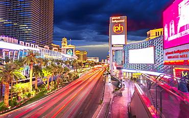 Planet hollywood at night, The Strip, Las Vegas Boulevard, Las Vegas, Nevada, United States of America, North America