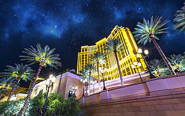 Palazzo hotel at night, The Strip, Las Vegas Boulevard, Las Vegas, Nevada, United States of America, North America