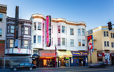 Clubs signs on buildings in North Beach district, San Francisco, California, United States of America, North America
