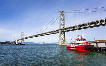Oakland Bay Bridge and Fire Rescue Boat, San Francisco, California, United States of America, North America