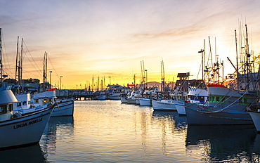 Sunset over Yachts at Fishermans Wharf, San Francisco, California, United States of America, North America
