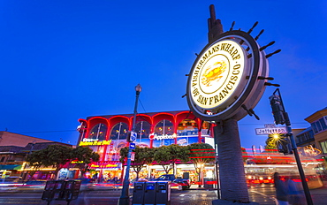 View of Fishermans Wharf sign at dusk, San Francisco, California, United States of America, North America