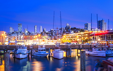 Fishermans Wharf harbor at dusk, San Francisco, California, United States of America, North America