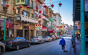 View of busy street in Chinatown, San Francisco, California, United States of America, North America