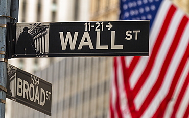 USA American flag, Wall Street and Broad Street signs, New York, United States of America, North America