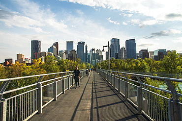 View of Bow River Pathway and Downtown from Sunnyside Bank Park, Calgary, Alberta, Canada, North America