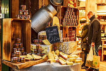 Cheese stand in Borough Market, Southwark, London, England, United Kingdom, Europe