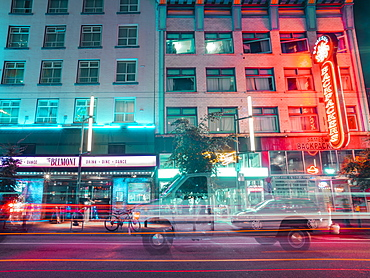 Neon lights at night on Granville Street, Vancouver, British Columbia, Canada, North America