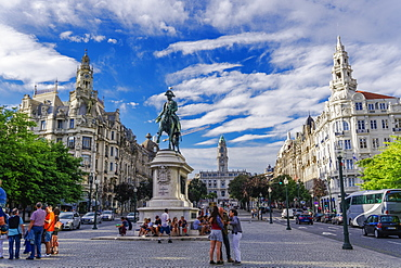 Pedro IV (King Peter IV) statue in Liberdade main square (Praca da Liberdade) with crowd, Porto, Portugal, Europe