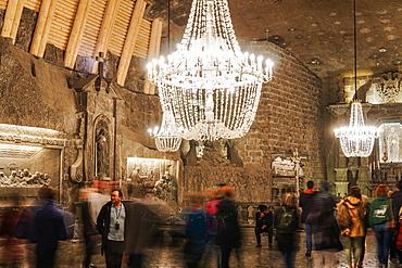 Wieliczka Salt Mine Tourist Route, Chapel of St. Kinga with chandeliers in Kopalnia soli Wieliczka, UNESCO World Heritage Site, Krakow, Poland, Europe