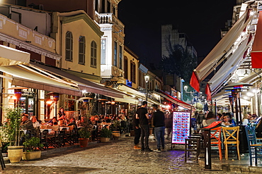 The Ladadika area at night with crowd in pedestrian zone of district famous for its bars and restaurants, Thessaloniki, Greece, Europe