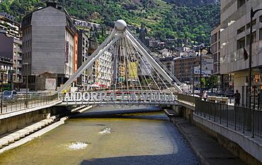 Andorra sign on a bridge over the River Gran Valira, Andorra la Vella, capital of the Principality of Andorra, Europe