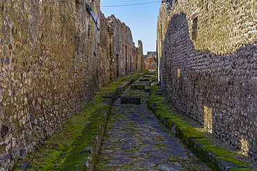 Stone street with raised blocks, city street with stepping stones allowing vehicles and pedestrians to cross the street, Pompeii, UNESCO World Heritage Site, Campania, Italy, Europe