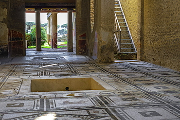 Casa di Paquius Proculus mosaic, interior of House of Cuspius Pansa looking across atrium to tablinum and oecus, Pompeii, UNESCO World Heritage Site, Campania, Italy, Europe