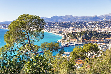 View from Mont Boron to Nice, Alpes Maritimes, Cote d'Azur, French Riviera, Provence, France, Mediterranean, Europe