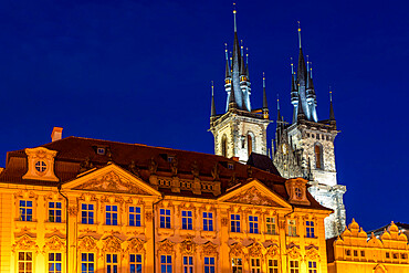 Illuminated Church of Our Lady before Týn at dusk, Prague, Czech Republic, Europe