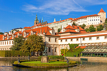 Prague Castle and Saint Vitus Cathedral seen from inside the Wallenstein Garden, Prague, Czech Republic, Europe