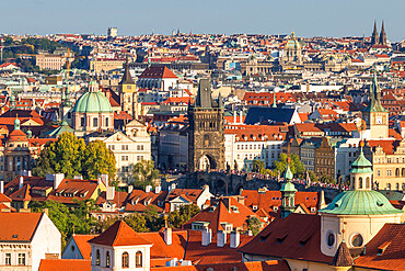 Elevated view from the Southern Garden at Prague Castle over the old town, Prague, Czech Republic, Europe