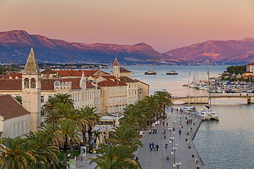 View from Kamerlengo Fortress over the old town of Trogir at sunset, UNESCO World Heritage Site, Croatia, Europe