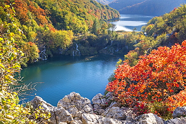Elevated view from a lookout over the Lower Lakes inside Plitvice Lakes National Park, UNESCO World Heritage Site, Croatia, Europe