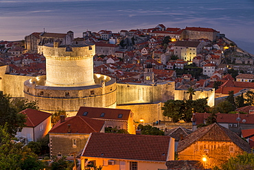 View from a lookout over Minceta Tower and the old town of Dubrovnik at dawn, UNESCO World Heritage Site, Croatia, Europe