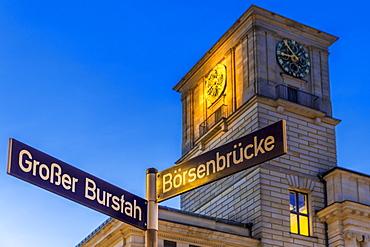 The clock tower of the Hamburg Chamber of Commerce building at dusk, Hamburg, Germany, Europe
