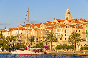 View to the old town of Korcula at sunset, Korcula, Croatia, Europe