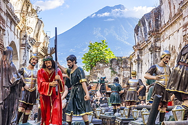 Floats for the Holy Week processions of the Company of Jesus in Antigua, Guatemala, Central America