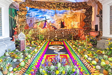 Vigil on the fourth weekend of Lent 2017 inside the La Merced Cathedral in Antigua, Guatemala, Central America