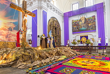 Vigil on the fifth weekend of Lent 2017 inside the church of the Escuela de Cristo in Antigua, Guatemala, Central America