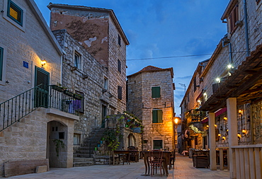 Small square in the old town of Stari Grad on Hvar Island at dusk, Hvar, Croatia, Europe