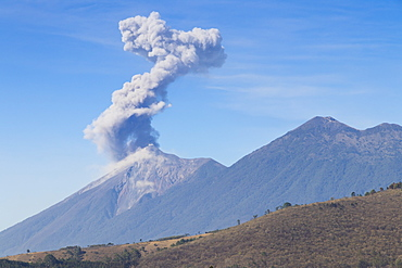 Eruption of the Volcano of Fire (Volcan de Fuego) seen from Antigua, Guatemala, Central America