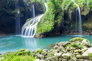 Waterfall at Cahabon River in the Semuc Champey National Park, Guatemala, Central America