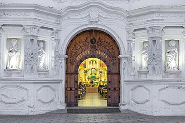 Entrance door of the church of Ciudad Vieja, Guatemala, Central America