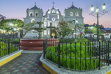 The cathedral and the main square of Ciudad Vieja at dusk, Ciudad Vieja, Guatemala, Central America