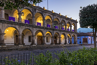 The town of Antigua decorated with banners for the Holy Week at dusk, Antigua, UNESCO World Heritage Site, Guatemala, Central America