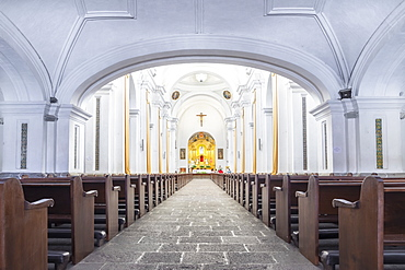 Interior of the cathedral La Merced in Antigua, UNESCO World Heritage Site, Guatemala, Central America