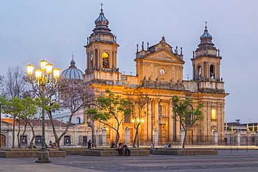 The Metropolitan Cathedral in Guatemala City at dusk, Guatemala, Central America