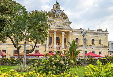 The town hall of Retalhuleu at the main square, Retalhuleu, Guatemala, Central America