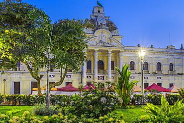 The town hall of Retalhuleu at the main square during dusk, Retalhuleu, Guatemala, Central America