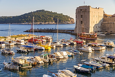View over the old port of Dubrovnik and Lokrum Island in the background, Croatia, Europe