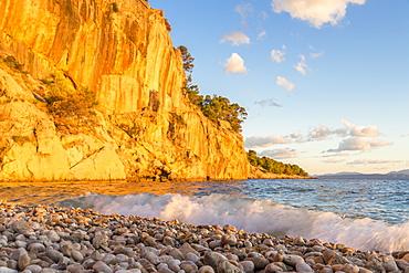Nugal Beach near Makarska at sunset, Croatia, Europe
