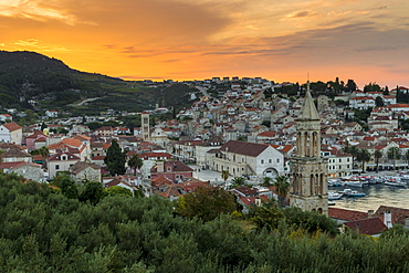 Elevated view over the old town of Hvar Town at sunrise, Hvar, Croatia, Europe