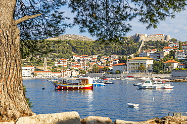 View to Hvar Town and the Spanish Fortress, Hvar, Croatia, Europe