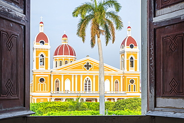 The Cathedral of Granada seen from the window of a building, Granada, Nicaragua, Central America