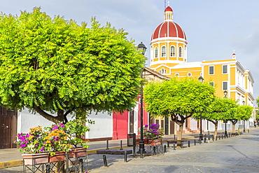 The Cathedral of Granada seen from La Calzada street, Granada, Nicaragua, Central America