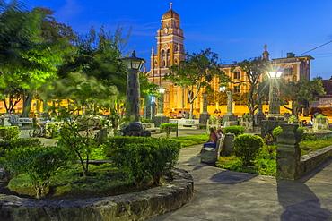 The Xalteva Church seen from Xalteva Park in Granada at dusk, Granada, Nicaragua, Central America