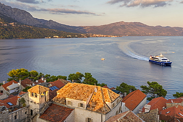 View from the bell tower of the cathedral inside the old town of Korcula over the bay, Korcula, Croatia, Europe
